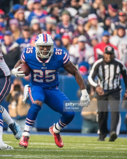 ORCHARD PARK, NY - DECEMBER 03: LeSean McCoy #25 of the Buffalo Bills carries the ball during the second quarter against the New England Patriots at New Era Field on December 3, 2017 in Orchard Park, New York. New England defeats Buffalo 23-3. (Photo by Brett Carlsen/Getty Images) *** Local Caption *** LeSean McCoy