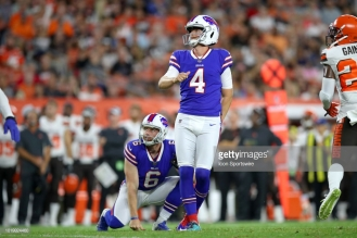 CLEVELAND, OH - AUGUST 17: Buffalo Bills kicker Stephen Hauschka (4) and Buffalo Bills punter Colton Schmidt (6) watch as Hauschka's 44-yard field goal splits the uprights during the second quarter of the National Football League preseason game between the Buffalo Bills and Cleveland Browns on August 17, 2018, at FirstEnergy Stadium in Cleveland, OH. Buffalo defeated Cleveland 19-17. (Photo by Frank Jansky/Icon Sportswire via Getty Images)