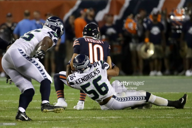 CHICAGO, IL - SEPTEMBER 17: Cliff Avril #56 of the Seattle Seahawks sacks quartertback Mitchell Trubisky #10 of the Chicago Bears in the third quarter at Soldier Field on September 17, 2018 in Chicago, Illinois. (Photo by Jonathan Daniel/Getty Images)