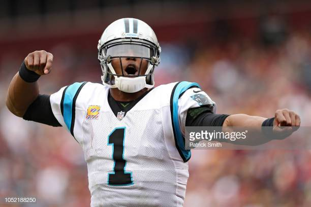 LANDOVER, MD - OCTOBER 14: Quarterback Cam Newton #1 of the Carolina Panthers celebrates against the Washington Redskins at FedExField on October 14, 2018 in Landover, Maryland. (Photo by Patrick Smith/Getty Images)