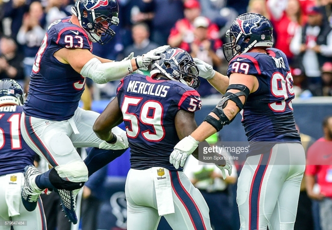 January 03, 2016: Houston Texans Defensive End Jared Crick (93) and Houston Texans Defensive End J.J. Watt (99) congratulate Houston Texans Linebacker Whitney Mercilus (59) following a sack during the Jaguars at Texans game at NRG Stadium, Houston, Texas. (Photo by Ken Murray/Icon Sportswire) (Photo by Ken Murray/Icon Sportswire/Corbis via Getty Images)
