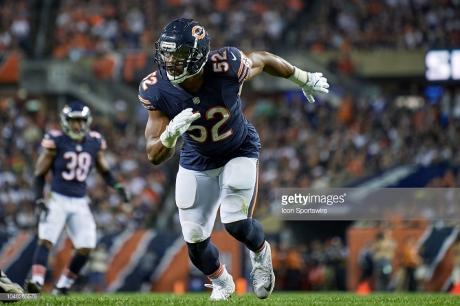 CHICAGO, IL - SEPTEMBER 17: Chicago Bears linebacker Khalil Mack (52) battles in game action during an NFL game between the Chicago Bears and the Seattle Seahawks on September 17, 2018 at Soldier Field in Chicago, Illinois. (Photo by Robin Alam/Icon Sportswire via Getty Images)
