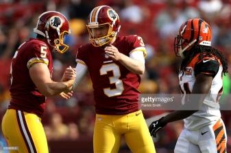 LANDOVER, MD - AUGUST 27: Kicker Dustin Hopkins #3 of the Washington Redskins celebrates a field goal against the Cincinnati Bengals in the first half during a preseason game at FedExField on August 27, 2017 in Landover, Maryland. (Photo by Patrick Smith/Getty Images)