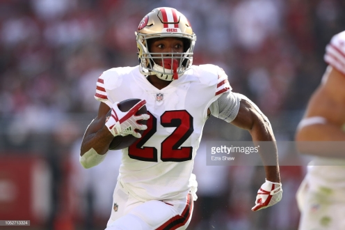 SANTA CLARA, CA - OCTOBER 21: Matt Breida #22 of the San Francisco 49ers rushes with the ball against the Los Angeles Rams during their NFL game at Levi's Stadium on October 21, 2018 in Santa Clara, California. (Photo by Ezra Shaw/Getty Images)