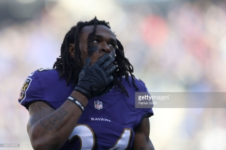 BALTIMORE, MD - OCTOBER 21: Running Back Alex Collins #34 of the Baltimore Ravens stands on the field prior to the game against the New Orleans Saints at M&T Bank Stadium on October 21, 2018 in Baltimore, Maryland. (Photo by Patrick Smith/Getty Images)