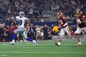 ARLINGTON, TEXAS - NOVEMBER 22: Dallas Cowboys wide receiver Amari Cooper (19) breaks away for a touchdown after a catch during the third quarter in a game against the Washington Redskins and Dallas Cowboys at AT&T Stadium on November 22, 2018 in Arlington, Tx. Dallas beat Washington 31-23. (Photo by Ricky Carioti/The Washington Post via Getty Images)