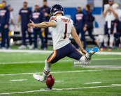 DETROIT, MI - NOVEMBER 22: Cody Parkey #1 of the Chicago Bears kicks off the football to start an NFL, Thanksgiving Day game against the Detroit Lions at Ford Field on November 22, 2018 in Detroit, Michigan. The Bears defeated the Lions 23-16. (Photo by Dave Reginek/Getty Images)