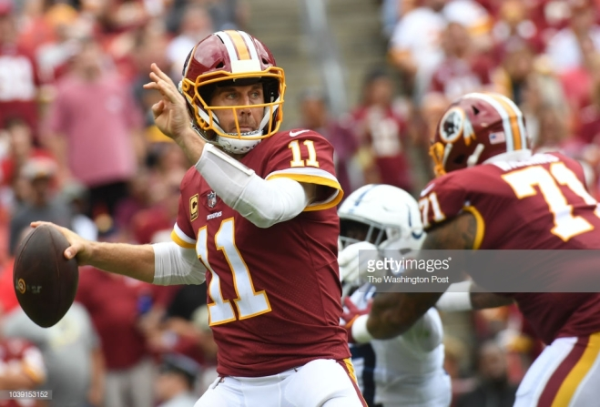 LANDOVER, MD - SEPTEMBER 16: Washington Redskins quarterback Alex Smith (11) drops back to throw during the game between the Washington Redskins and the Indianapolis Colts at FedEx Field on Sunday, September 16, 2018. (Photo by Toni L. Sandys/The Washington Post via Getty Images)