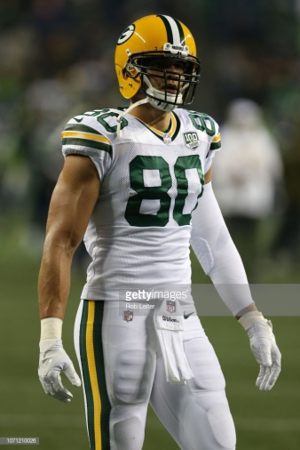 SEATTLE, WA - NOVEMBER 15: Jimmy Graham #80 of the Green Bay Packers looks on before the game against the Seattle Seahawks at CenturyLink Field on November 15, 2018 in Seattle, Washington. The Seahawks defeated the Packers 27-24. (Photo by Rob Leiter /Getty Images)