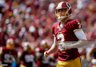 WASHINGTON, DC - SEPTEMBER 20: Kicker Dustin Hopkins #3 of the Washington Redskins runs on the field following a kick off against the St. Louis Rams at FedExField on September 20, 2015 in Landover, MD. (Photo by Rob Carr/Getty Images)