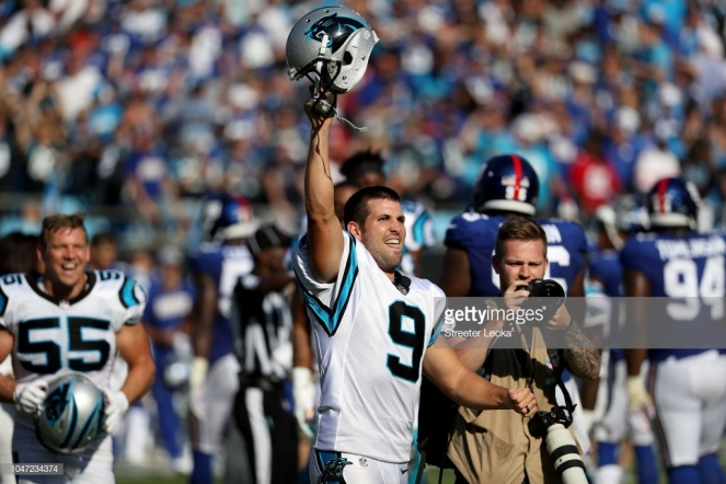 CHARLOTTE, NC - OCTOBER 07: Graham Gano #9 of the Carolina Panthers reacts after making a 63 yard field goal to win the game against the New York Giants at Bank of America Stadium on October 7, 2018 in Charlotte, North Carolina. (Photo by Streeter Lecka/Getty Images)